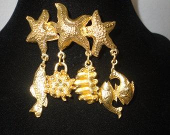 Vintage Sea Figures Gold Matte Brooch*****.