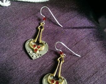Earrings, The Waiting Heart, Garnet with Watch Pieces