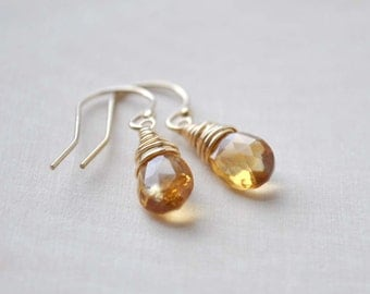 Citrine Earrings, Citrine Drop Earrings in Sterling Silver or 14K Gold Filled, Citrine Wire Wrapped Earrings