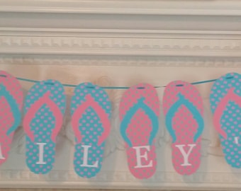 Pool Party Banner - Flip Flop Banner - Swimming Party Banner -Birthday Party Banner