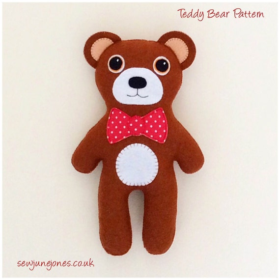Pdf sewing pattern to make a felt teddy bear by sewjunejones for Make your own teddy bear template