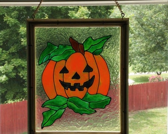 Halloween Decor, Glass Pumpkin, Faux Stained Glass, Pumpkin Decor, Stained Glass Window, Fall Decor, Stained Glass Suncatcher, Orange Decor