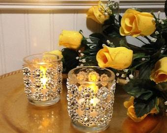 Wedding Votive Holder/ Bling Votive Holder/ Flower Gem Glass Candle Holder/ Wedding Candle Decor/ Glass Votive Holders/ Sparkle Votives
