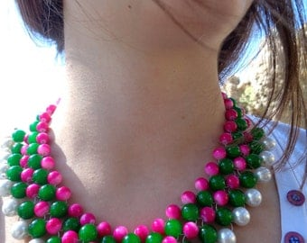 Hot pink Statement Collar Necklace / Fashion jewelry / Statement Necklace / Summer necklace/ Neon necklace/ Beaded necklace/ Handmade collar