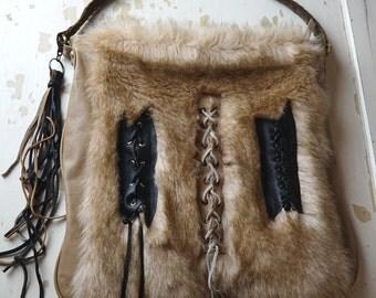 Rock chick Fake Fur Leather Lace up Fringe Shoulder bag - Hand bag