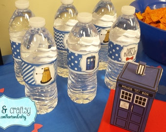 Doctor Who Party Bottle Wrapper / Drink Labels / Printable Water Bottle Stickers / Tardis Dalek / Dr Who Birthday - FILE to PRINT DIY