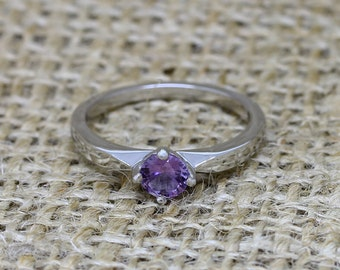 Alexandrite and Titanium solitaire ring - engagement ring - wedding ring