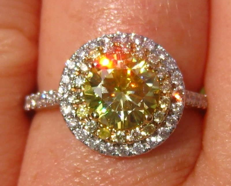 Yellow Moissanite Engagement Ring Canary Yellow Moissanite in
