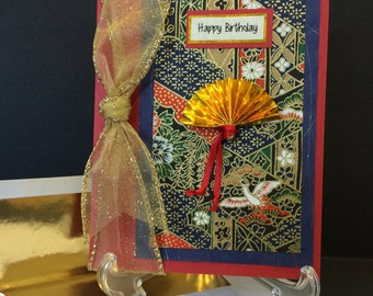 Handmade Happy Birthday Card with Gold Fan