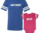 We  Match! * Baby Daddy & Baby * Matching Father Baby Adult Football T-Shirt And Baby Bodysuit - Matching Shirts ROYAL/PINK (VSET83WHT-TR)