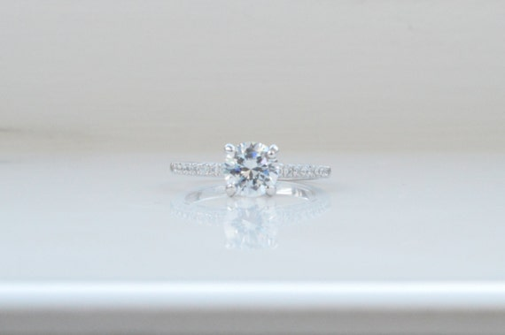 Unique Engagement Ring Solitaire Engagement Ring Thin
