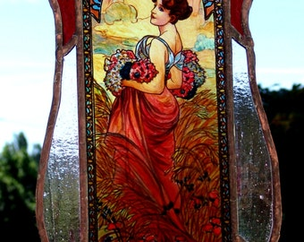 Alphonse Mucha - Summer,  Stained Glass Window Panel, Original hand-painted by Sekyt Art Studio
