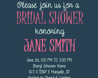 Custom Bridal Shower Invitation// 5x7in//Digital Download//