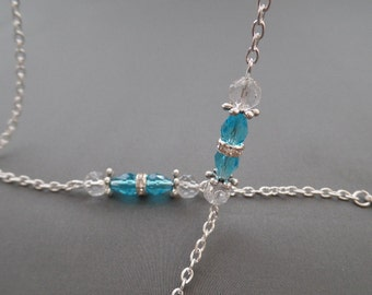 Blue Crystal Eyeglass Chain - Eyeglasses Chain - Eyeglasses Holder - Eyeglasses Leash - Lanyard