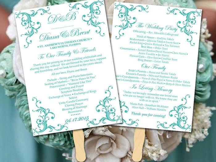 DIY Wedding Program Fan Template Printable Wedding Program
