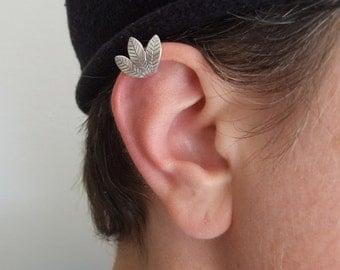Silver Leaves Ear Cuff - no piercing needed , leaf ear cuff , woodland ear cuff , ear cuff no piercing , graduation gift ,  birthday gift