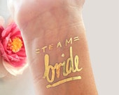 Set of 15 bachelorette party favor,bachelorette tattoo,flash tattoo,gold tattoo,the original team bride© tattoo, bridal party,bridesmaid gif