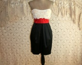 Strapless Party Dress Sexy Club Dress Short Dress Pockets Red White Black Color Block Women Dress Size 6 Size 8 Small Medium Womens Clothing