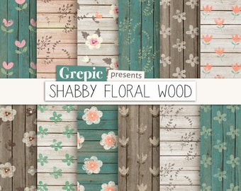 "Shabby digital paper: ""SHABBY FLORAL WOOD"" with shabby backgrounds, flowers on woodgrain, wedding, distressed textures, romantic, cottage"
