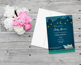 Baby Shower Invitations Boat Stars Moon and Sky