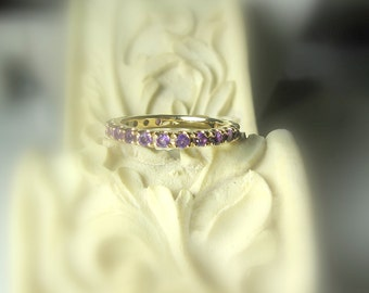 Gemstone Eternity Band 14K Gold, Gemstone Ring, Birthstone Band, Anniversary Ring, Aquamarine, Morganite, Emerald, Spinel, Tanzanite