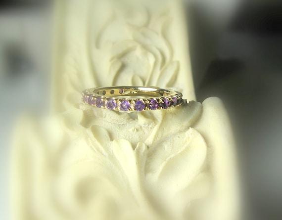 Gemstone Eternity Band 14K Gold, Gemstone Ring, Birthstone Band, Anniversary Ring, Aquamarine, Morganite, Emerald, Spinel, Tanzanite