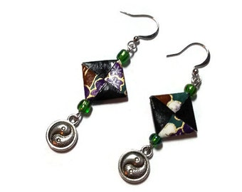 Origami earrings made out of chiyogami japenese paper green, black and gold