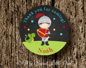 Chalkboard Knight label - princess knight tag - knight printable - princess knight sticker - princess knight cupcake topper