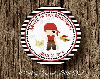 Pirate label - pirate printable - pirate sticker - pirate cupcake topper - pirate thank you tag - Pirate birthday - red boy pirate