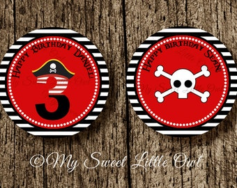 Pirate  sticker - Pirate  Cupcake Topper - Pirate birthday - pirate printable - boy pirate printable - red pirate label - pirate skull