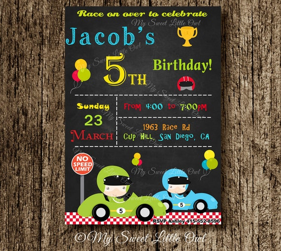 Race Car invitation Car invite Transportation invitation – Free Printable Race Car Birthday Invitations