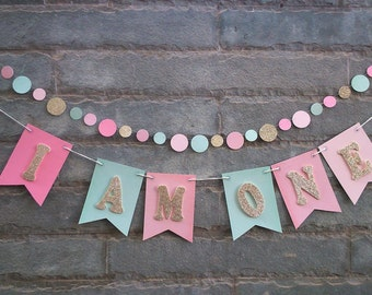 I AM ONE - Baby's first birthday banner, Cake smash, High chair banner, Photo prop