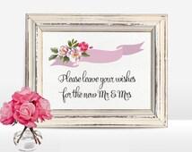 Wishing Well Sign Printable, Wedding Sign, Floral Wedding Well Wishes Sign, Table Sign, Wedding Signage, Digital file