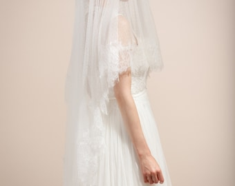 Wedding veil, bridal dotted veil with blusher, swiss dot veil with Eyelash lace trims-- Style 355