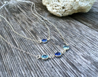 Aquamarine Birthstone Necklace Layered Birthstone Necklace Aquamarine Jewelry Sapphire Swarovski Birthstones march birthstone bridesmaid set