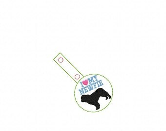 I Love My NEWFIE - Newfoundland - In The Hoop - Snap/Rivet Key Fob - DIGITAL Embroidery Design