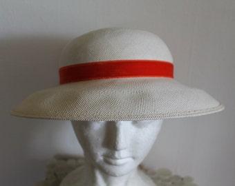 Vintage 40s Off-White Velvet Orange Ribbon Straw Summer Brim Hat