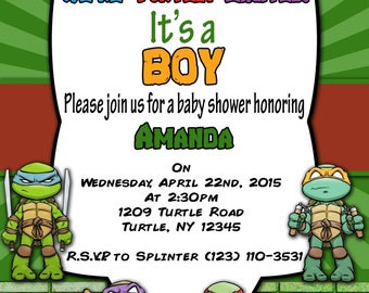 Print Your Own -Teenage Mutant Ninja Turtles Baby Shower Invitation