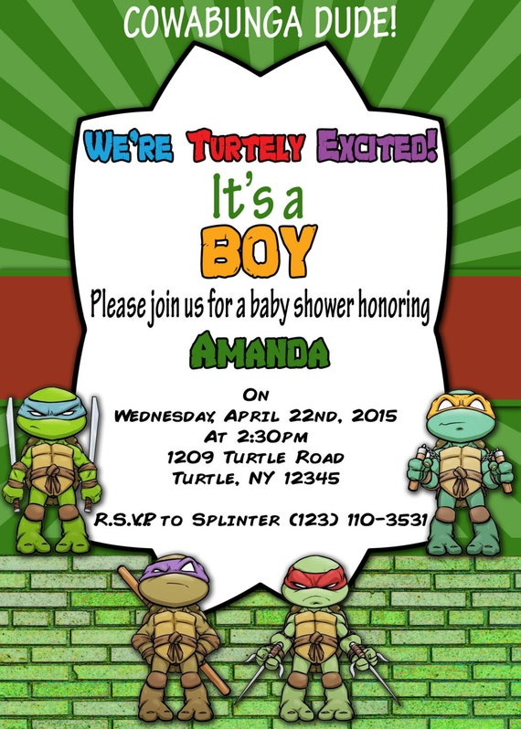 ninja turtle baby shower pictures to pin on pinterest - pinsdaddy, Baby shower invitations
