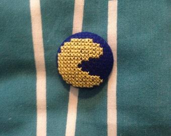 Pacman Cross Stitched Button