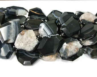 Flat Agate Beads, Flat Stones for Bangles, Agate Beads, Black Agate, 9 PCS, Natural Beads, Wire Bangles, Wholesale Beads