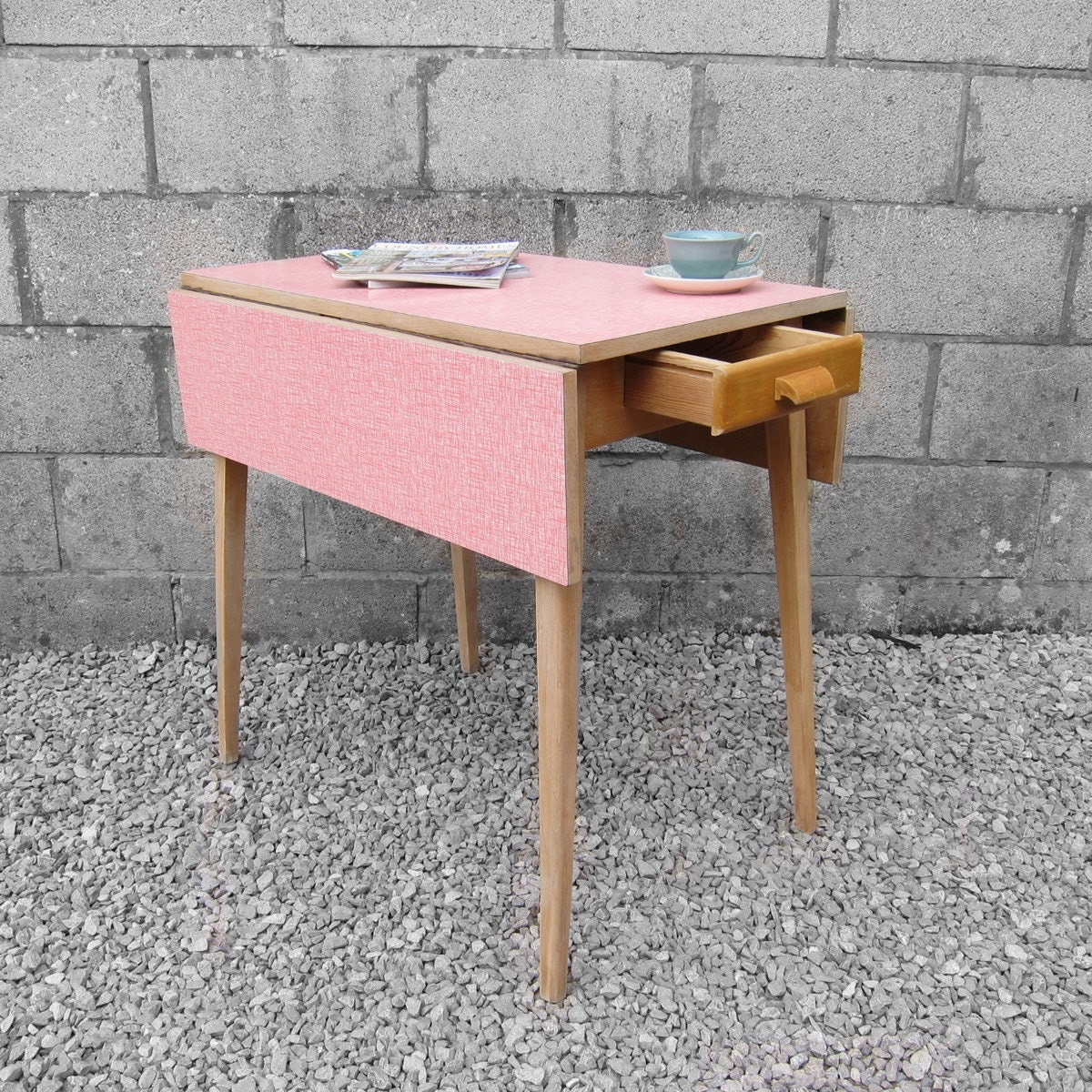 Mid Century 1950s Vintage Retro Old Pink Red Patterned