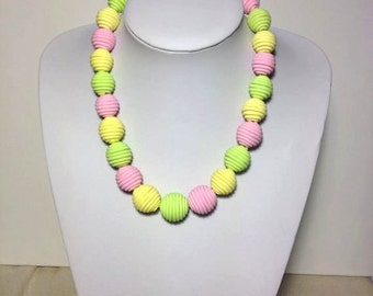 Beaded Necklace, Graduated Necklace, Handmade Beads, Polymer Clay Beads, Statement Necklace, Summer Jewelry, Colorful Necklace, Gift Jewelry