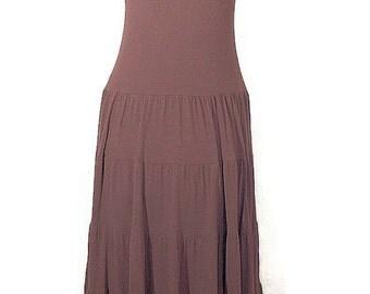 Vintage Boho Knit Long Dress. 1980 Chocolate Knit Ballet Dress. Size Small