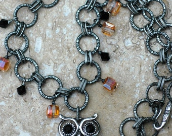 Happy Halloween; Wise Old Owl Pendant and Swarovski Crystal Necklace