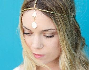 THE LAYLA - SALE! Gold Hair Chain White Falling Triangle Hair Jewelry Headpiece Boho Festival Egyptian Bellydancer Head Chain Coachella