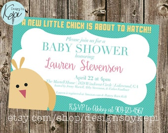 Baby Shower Invitation: Chick is about to hatch, little girl teal & pink