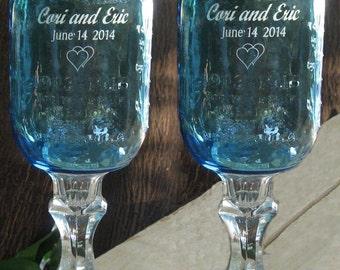 BLUE Redneck  Wine Glasses  - 16 OZ - Personalized - aka Hillbilly Wine Glasses - Wedding -Anniversary - Mason Jar