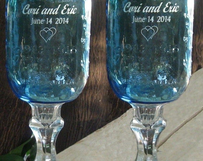 REDNECK WINE GLASS  - Blue,  Engraved,  Personalized, 2 - 16 oz-   aka Hillbilly Wine Glasses - Wedding -Anniversary - Mason Jar