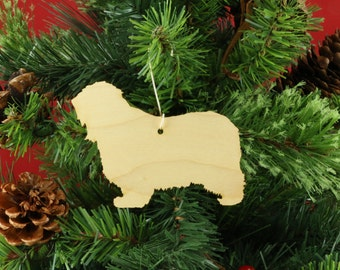 Polish Lowland Sheepdog Ornament in Wood or Mirror Acrylic Customizable with Name